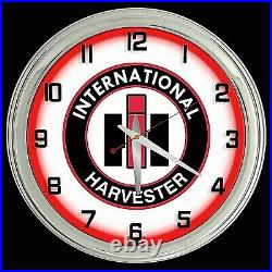 16 International Harvester IH Sign Red Neon Clock Man Cave Tractor