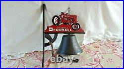 CAST IRON MCCORMICK TRACTOR WALL MOUNT BELL With RINGER