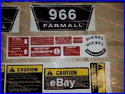 COMPLETE Decal Set for IH 966 Tractor International Farmall Hood Side Warning