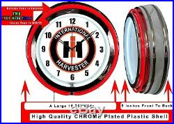 International Harvester 19 Double Neon Clock Red Neon Farm Tractor Man Cave