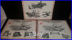 RARE McCormick thresher Deering chart Farmall A Tractor Poster vtg lot 2 sided