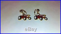 Vintage International Harvester womens clip on tractor gold tone earrings