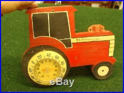 Vintage wooden International Harvester Tractor Rain Guage & Thermometer